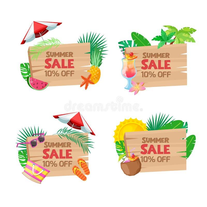 Bandeiras da venda da placa de madeira As etiquetas, crachás, etiquetas, etiquetas projetam o molde Praia do vetor e ilustração t ilustração royalty free
