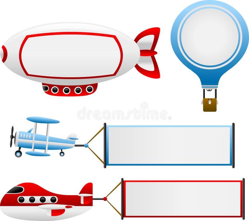 Bandeiras da viagem aérea ilustração stock