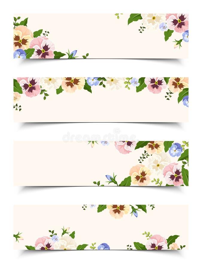 Bandeiras da Web com as flores coloridas do amor perfeito Vetor EPS-10 ilustração do vetor