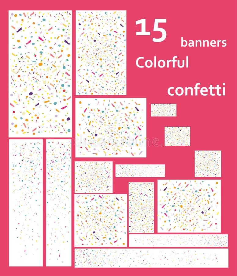 15 bandeiras da Web com confetes coloridos do voo ilustração stock