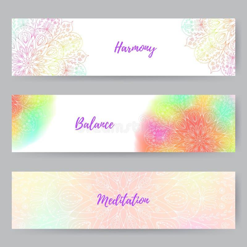Bandeiras da Web com Mandala1 ilustração stock