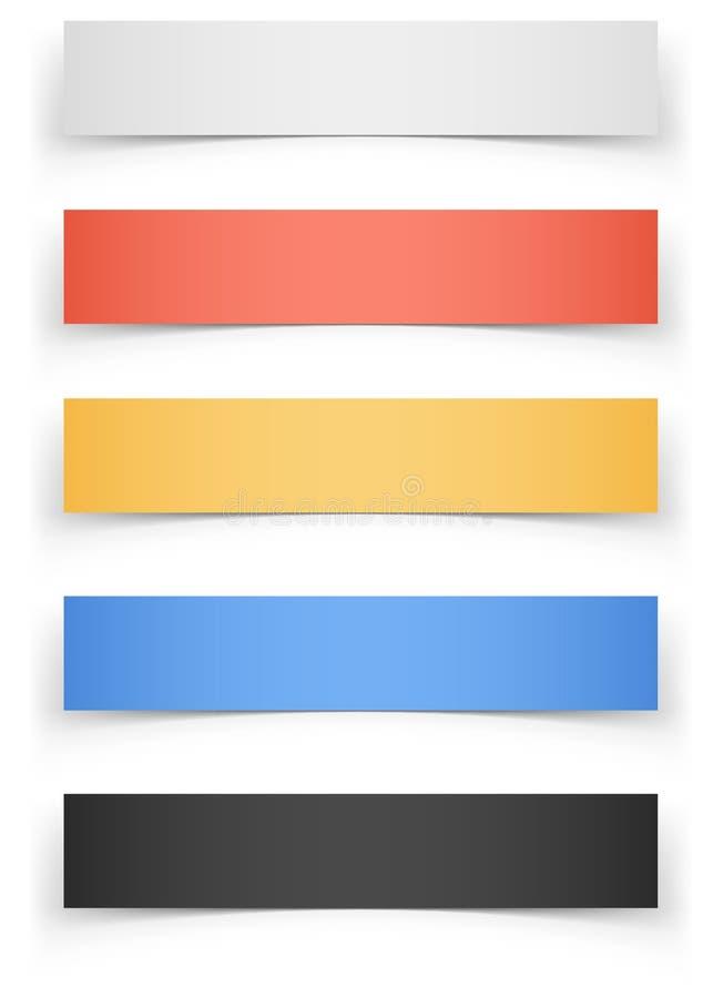 Bandeiras da Web da cor com sombra ilustração royalty free