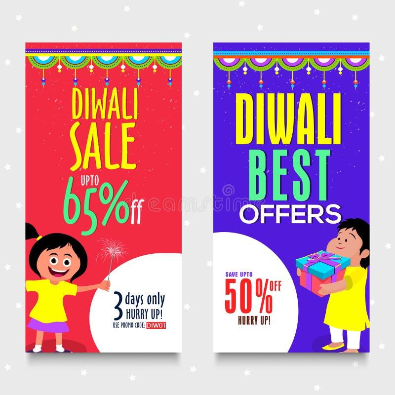 Bandeiras da Web da venda de Diwali ilustração royalty free