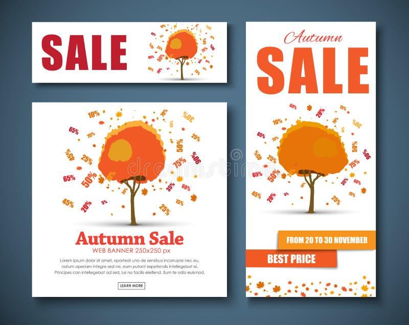 Bandeiras da Web do projeto para a venda com a árvore outonal com discontos ilustração royalty free