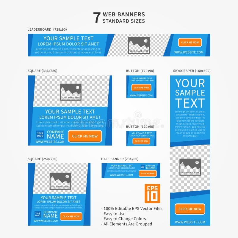Bandeiras da Web do tamanho padrão do negócio do vetor ajustadas ilustração royalty free