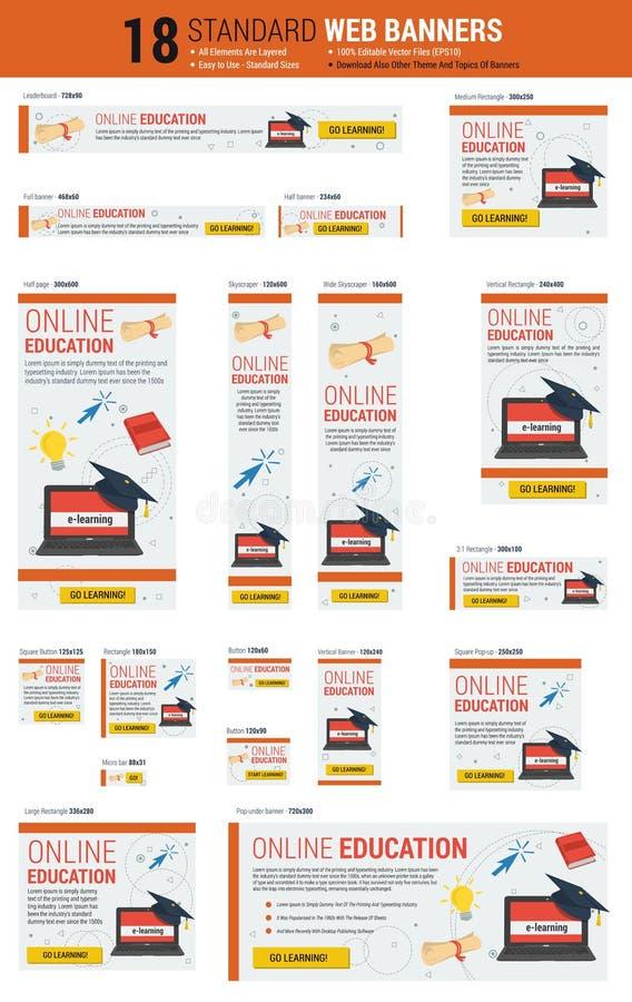 Bandeiras da Web do tamanho padrão - educação em linha ilustração royalty free