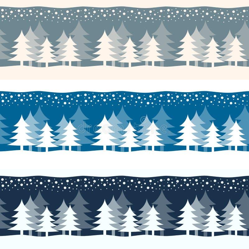 Bandeiras das árvores do inverno da época de Natal do Natal ilustração do vetor