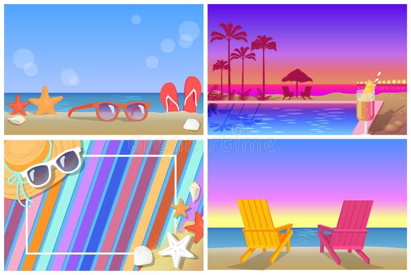 Bandeiras das composições e das paisagens do verão ajustadas ilustração royalty free