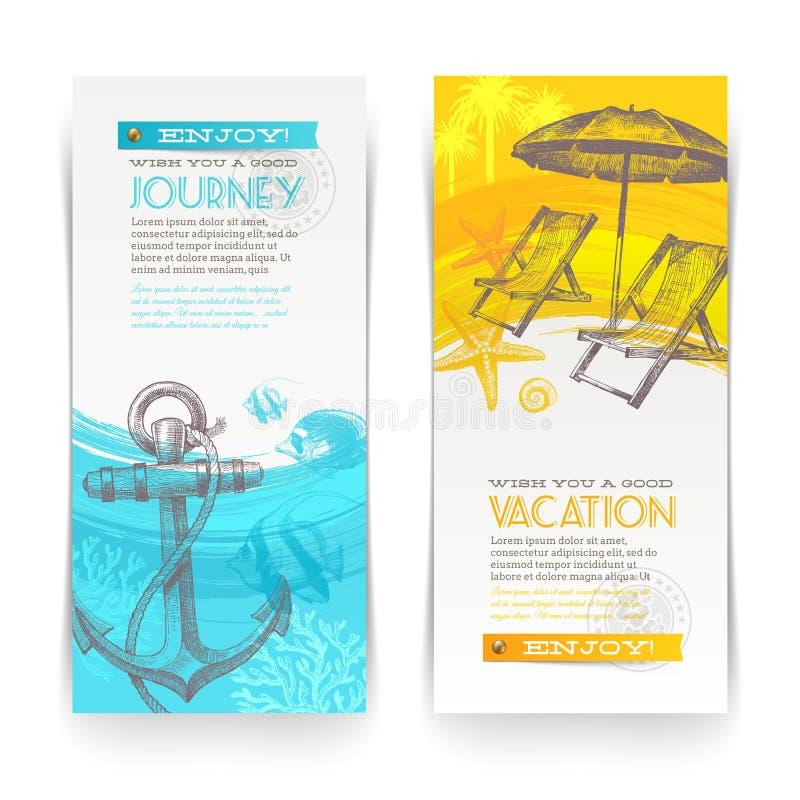 Bandeiras das férias e do curso ilustração royalty free