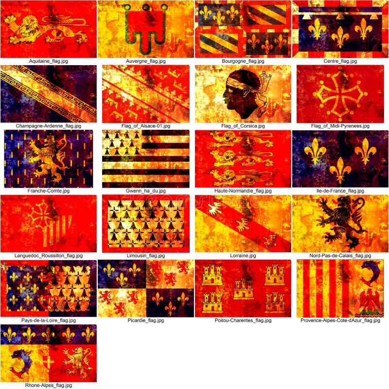 Bandeiras das regiões francesas ilustração stock