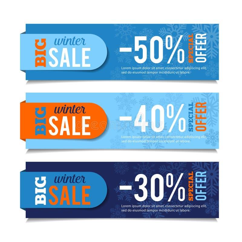 Bandeiras das vendas do inverno ilustração stock