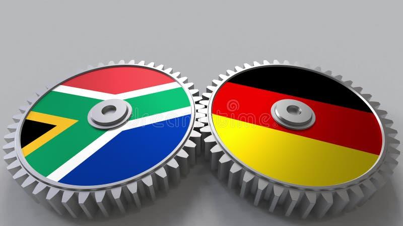 Bandeiras de África do Sul e de Alemanha nas engrenagens de engrenagem Rendição 3D conceptual da cooperação internacional ilustração royalty free