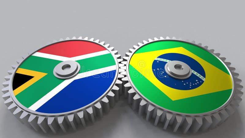Bandeiras de África do Sul e de Brasil nas engrenagens de engrenagem Rendição 3D conceptual da cooperação internacional ilustração royalty free