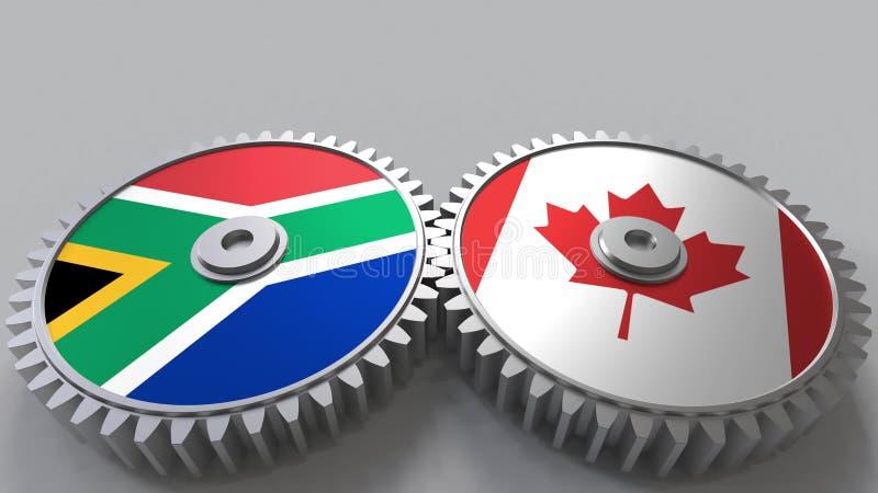 Bandeiras de África do Sul e de Canadá nas engrenagens de engrenagem Rendição 3D conceptual da cooperação internacional ilustração royalty free