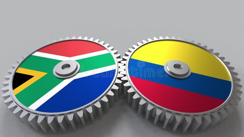 Bandeiras de África do Sul e de Colômbia nas engrenagens de engrenagem Rendição 3D conceptual da cooperação internacional ilustração do vetor