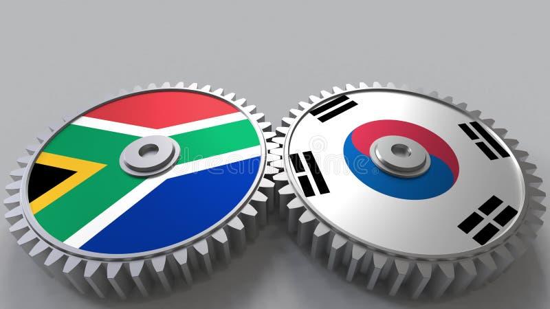 Bandeiras de África do Sul e de Coreia nas engrenagens de engrenagem Rendição 3D conceptual da cooperação internacional ilustração royalty free