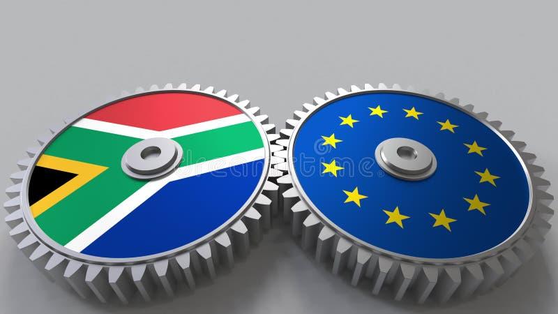 Bandeiras de África do Sul e da União Europeia nas engrenagens de engrenagem Rendição 3D conceptual da cooperação internacional ilustração do vetor