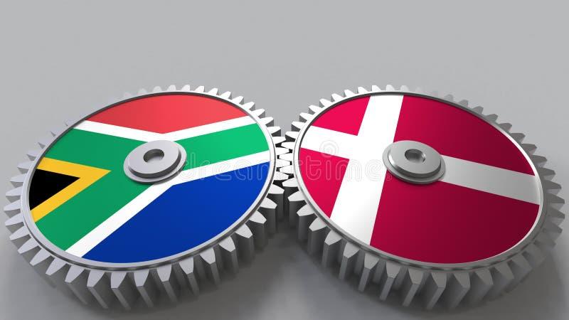 Bandeiras de África do Sul e de Dinamarca nas engrenagens de engrenagem Rendição 3D conceptual da cooperação internacional ilustração stock