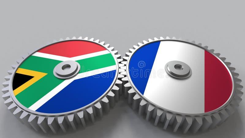 Bandeiras de África do Sul e de França nas engrenagens de engrenagem Rendição 3D conceptual da cooperação internacional ilustração do vetor