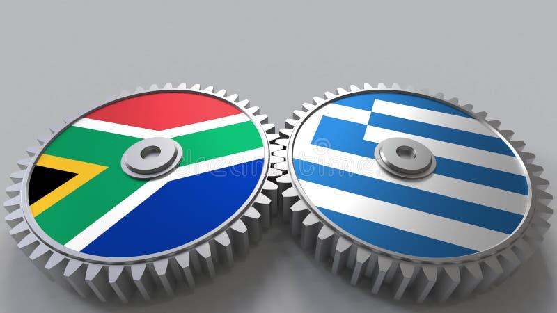 Bandeiras de África do Sul e de Grécia nas engrenagens de engrenagem Rendição 3D conceptual da cooperação internacional ilustração royalty free
