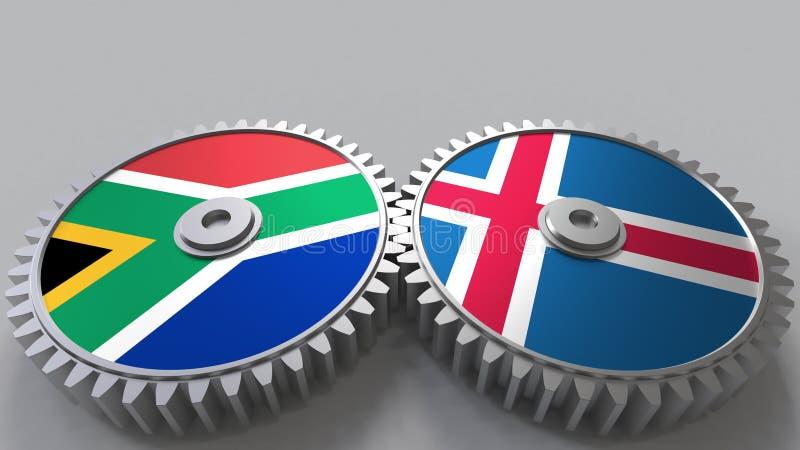 Bandeiras de África do Sul e de Islândia nas engrenagens de engrenagem Rendição 3D conceptual da cooperação internacional ilustração royalty free