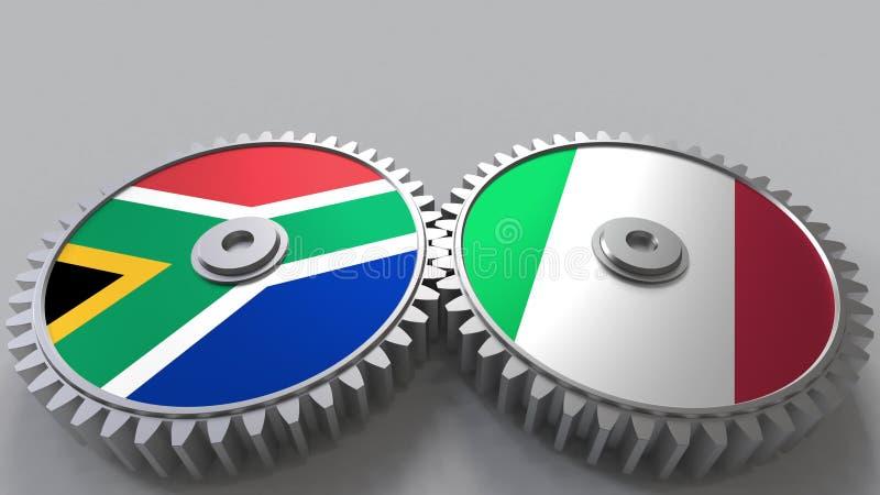 Bandeiras de África do Sul e de Itália nas engrenagens de engrenagem Rendição 3D conceptual da cooperação internacional ilustração do vetor