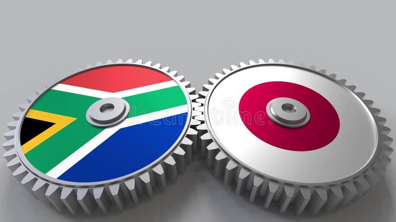 Bandeiras de África do Sul e de Japão nas engrenagens de engrenagem Rendição 3D conceptual da cooperação internacional ilustração do vetor