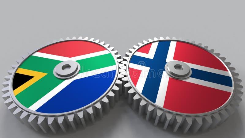 Bandeiras de África do Sul e de Noruega nas engrenagens de engrenagem Rendição 3D conceptual da cooperação internacional ilustração stock