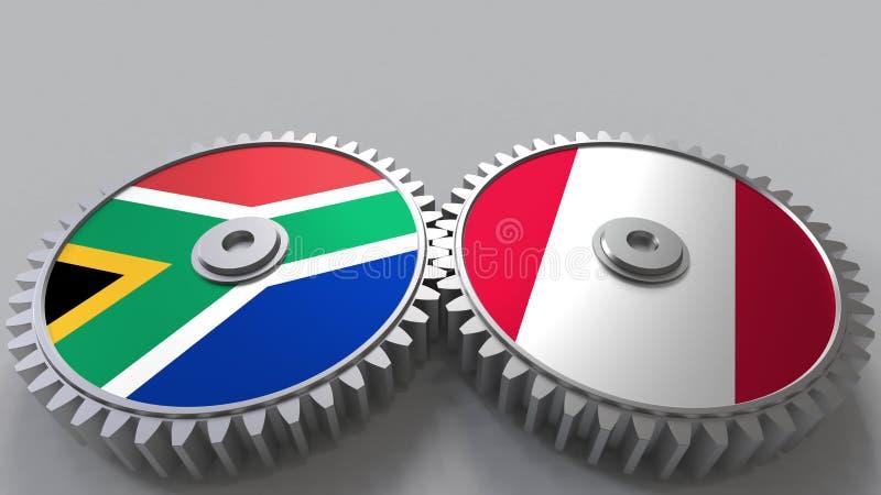 Bandeiras de África do Sul e de Peru nas engrenagens de engrenagem Rendição 3D conceptual da cooperação internacional ilustração royalty free