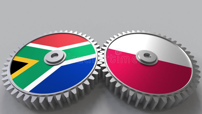 Bandeiras de África do Sul e de Polônia nas engrenagens de engrenagem Rendição 3D conceptual da cooperação internacional ilustração do vetor