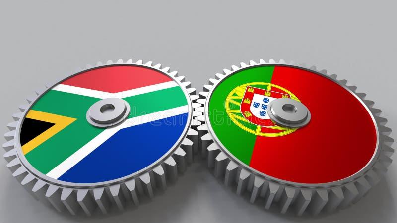 Bandeiras de África do Sul e de Portugal nas engrenagens de engrenagem Rendição 3D conceptual da cooperação internacional ilustração do vetor
