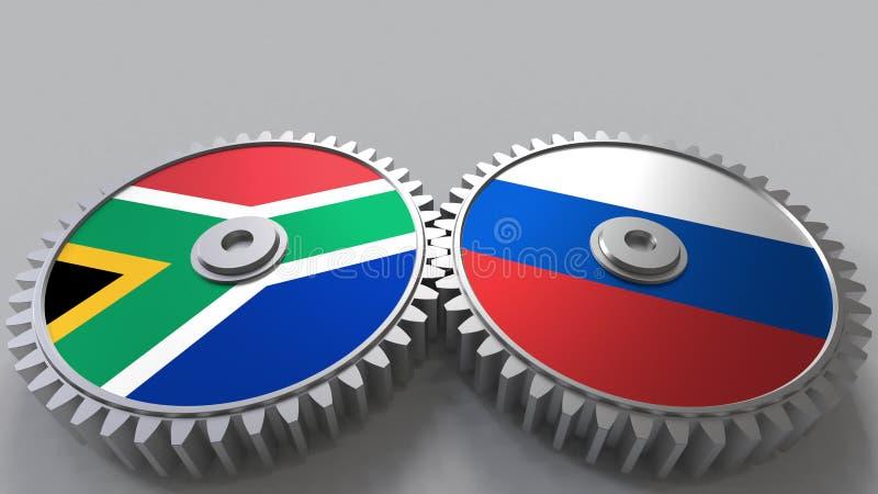 Bandeiras de África do Sul e de Rússia nas engrenagens de engrenagem Rendição 3D conceptual da cooperação internacional ilustração stock