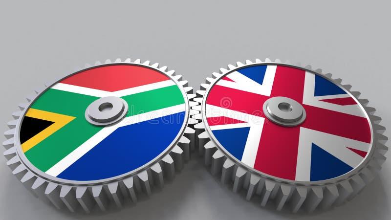Bandeiras de África do Sul e do Reino Unido nas engrenagens de engrenagem Rendição 3D conceptual da cooperação internacional ilustração stock