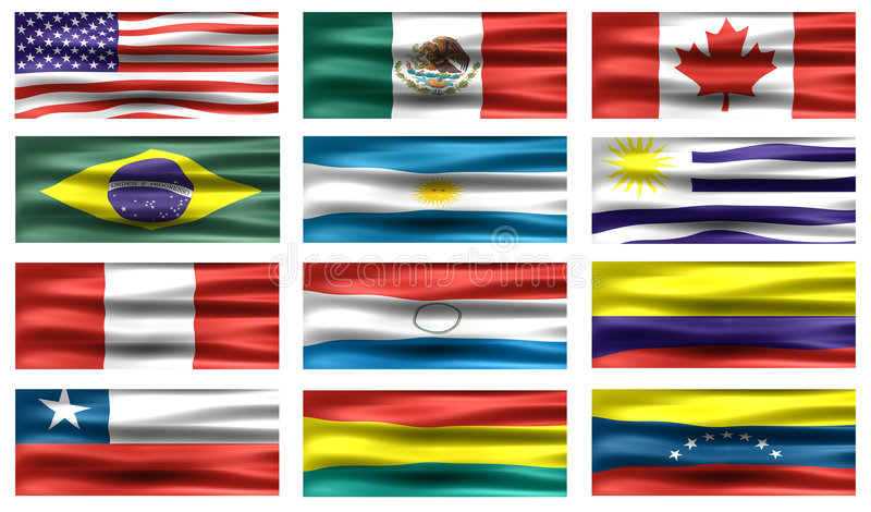Bandeiras de Americas fotografia de stock