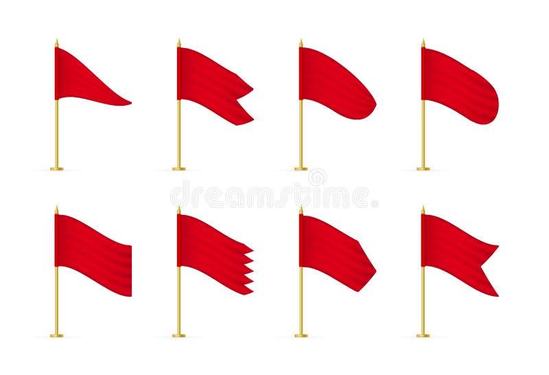 Bandeiras de anúncio brancas realísticas vazias de matéria têxtil do vetor ilustração royalty free