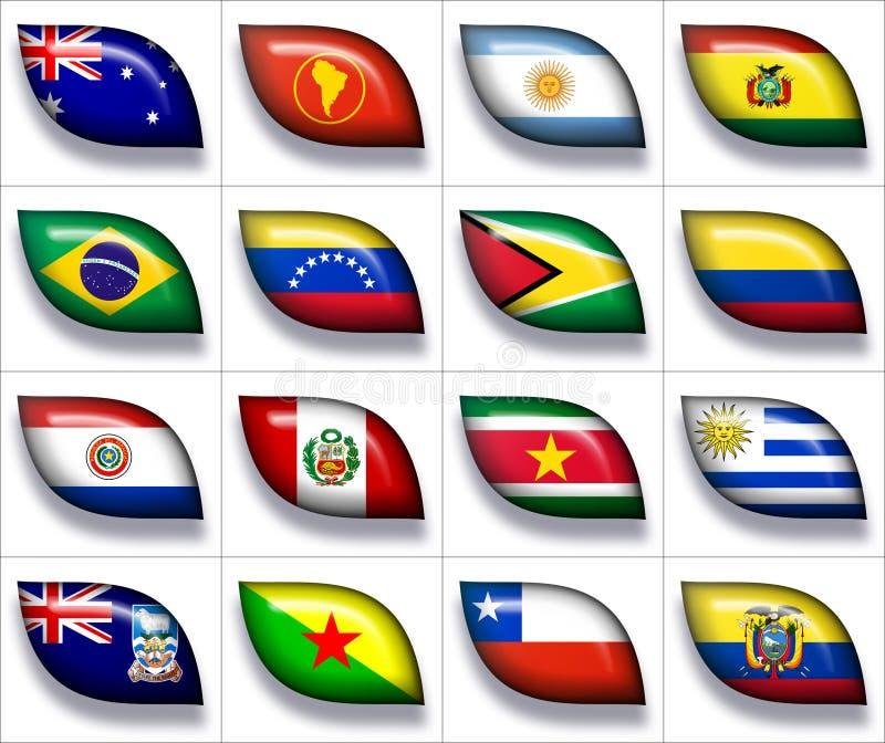 Bandeiras de Austrália & de Ámérica do Sul 2 ilustração do vetor