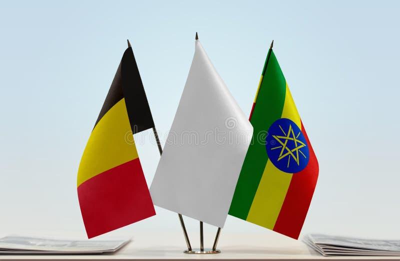 Bandeiras de Bélgica e de Etiópia foto de stock