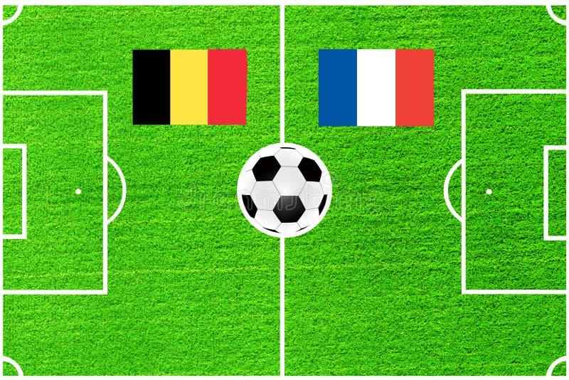 Bandeiras de Bélgica e de França no fundo de um campo de futebol ilustração royalty free