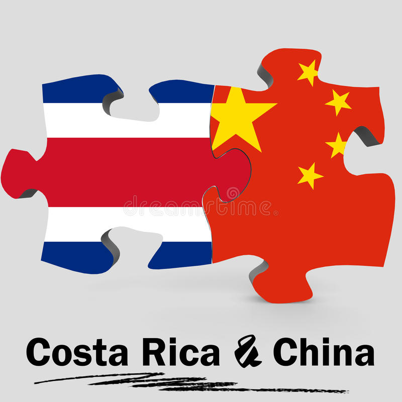 Bandeiras de China e de Costa Rica no enigma ilustração stock
