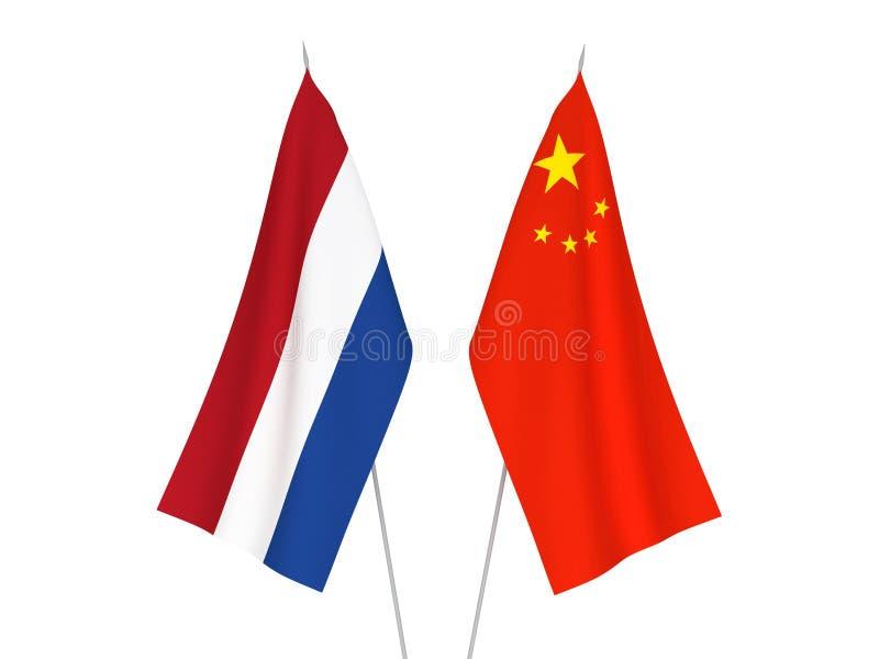 Bandeiras de China e de Países Baixos ilustração royalty free
