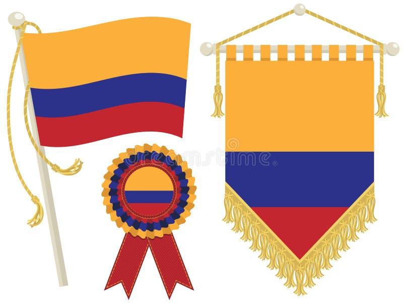 Bandeiras de Colômbia ilustração royalty free
