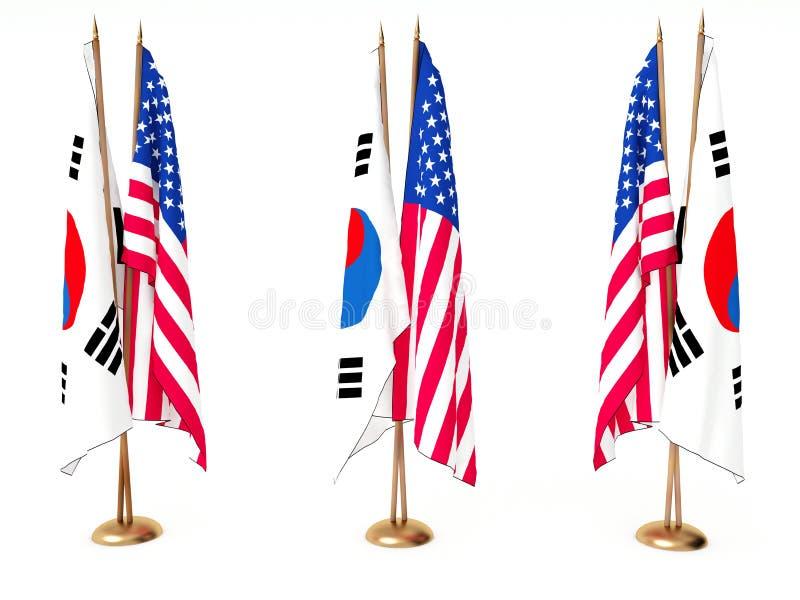 Bandeiras de Coreia do Sul e do estado unido ilustração do vetor