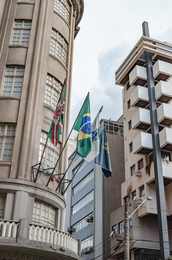 Bandeiras de Curitiba, de Brasil, de Parana e de Uninter foto de stock royalty free