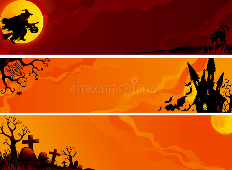Bandeiras de Dia das Bruxas ilustração royalty free