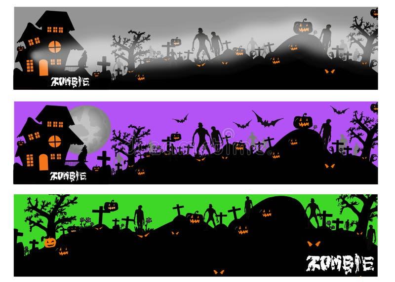 Bandeiras de Dia das Bruxas com a silhueta do zombi e do túmulo ilustração stock