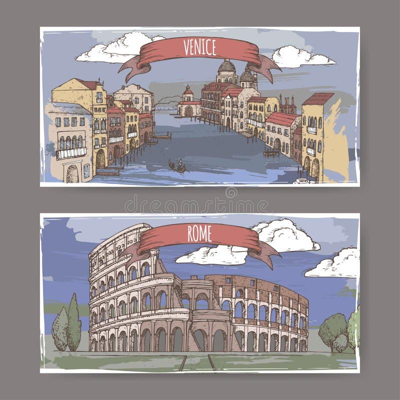 Bandeiras de duas cores do curso do vintage com Grand Canal em Veneza e em Colosseum em Roma, Itália ilustração do vetor