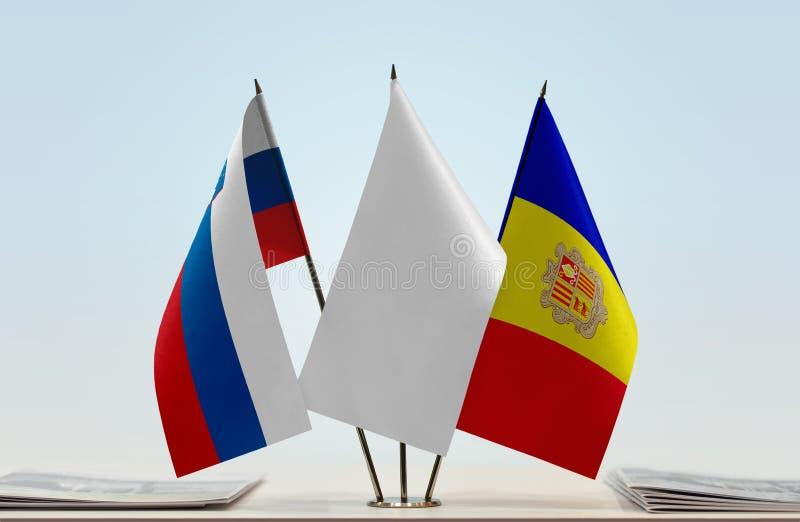 Bandeiras de Eslovênia e de Andorra imagens de stock royalty free