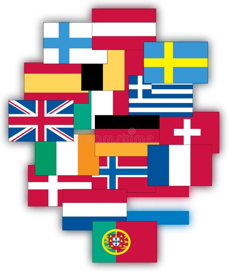 Bandeiras de Europa ilustração stock