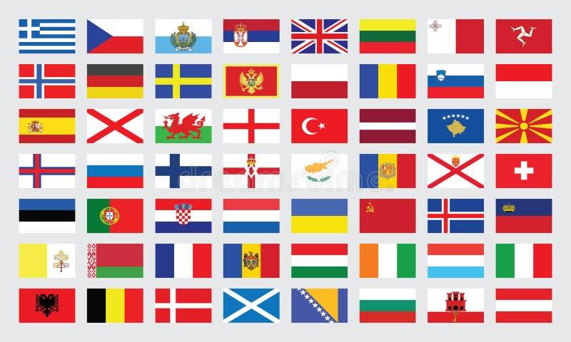 Bandeiras de Europa ilustração royalty free