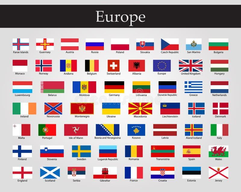 Bandeiras de Europa - coleção completa do vetor Vetor EPS 10 ilustração stock